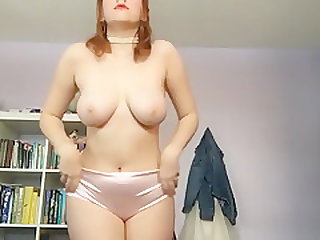18 year old redhead attempts another vintage striptease